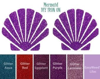 Diy MERMAID SHELL TOP Iron On, Vinyl Applique, Seashell Bra, Logo, Decal, Shirt, Tank, Tee, Baby, Girls, Infant, Adult, Women, Toddler, Kids
