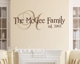 Personalized family wall art - Home wall art - Family wall sticker - Family wall decor - Wall art - family name monogram - family monogram