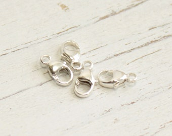 Sterling Silver Lobster Clasps -- 8mm Oval -- Four Pieces