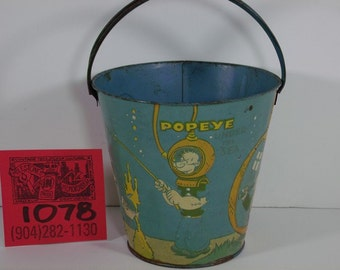 "1930's Popeye ""Under the Sea"" Classic Embossed Sand Pail"