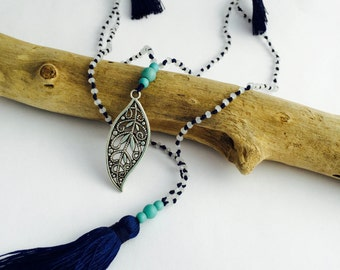 Tassel Necklace - Leaf - Double Strand - Layering Necklace - Beaded Yoga Necklace