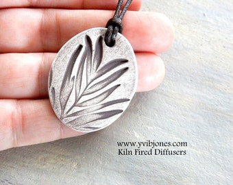 Essential Oil Diffuser NECKLACE Aromatherapy Clay Diffuser Jewelry Botanical White Leaf Design Necklace Hand Painted Handmade  Gift