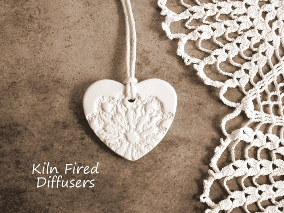 White Lace Clay Heart Aromatherapy Diffuser Essential Oil Jewelry DIY Wedding Favors Vintage Wedding Decor Rustic Romantic Bridesmaid Gift