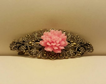 Antique Gold Barrette with Pink Flower