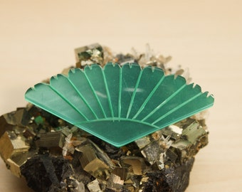 Vintage Handmade Iridescent Acrylic Abstract Form Brooch Pin