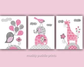 Pink and Grey Nursery Prints, Nursery art, Nursery Decor, Pink, Gray, Elephant, birds, giraffe, Pink gray nursery, grey - Pretty in Pink 2