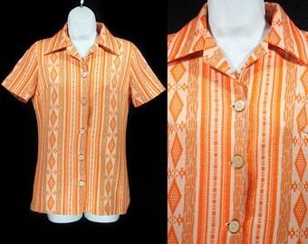 10 DOLLAR SALE---Vintage 70's Orange Short Sleeved Shirt M