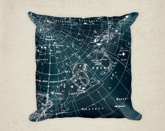 Teal Pillow,  Home Decor Pillow, Constellation Map Pillow, Constellations of Gemini, Cancer, Leo, Virgo and the stars