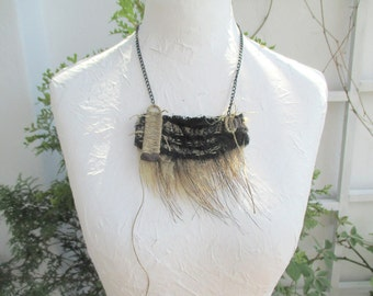 Tribal Necklace,   Mixed Media, fabric necklace, necklace with fur, Assemblage Jewelry, Unique,  OOAK