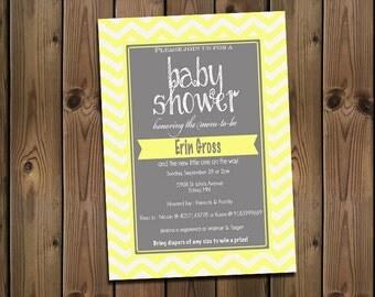 Yellow and Gray Baby Shower Chevron Invitation, Digital File,  PRINTABLE _1180