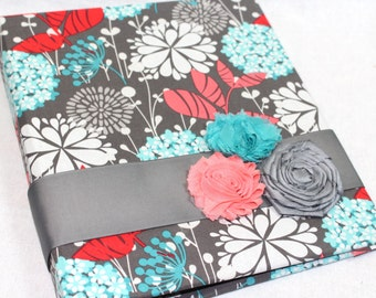 Recipe Binder / Recipe Dividers / Coral and Teal Recipe Binder / Teal and Gray Recipe Binder / Custom Dividers / 3 Ring Recipe Notebook