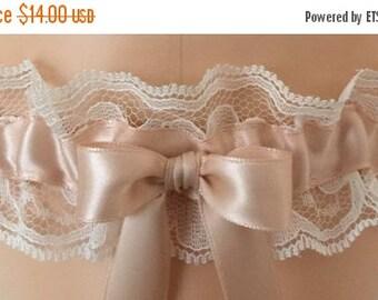 Sale Blush and Ivory Lace Wedding Garter, Bridal Garter, Prom Garter, Garter Belt, Lace Garter