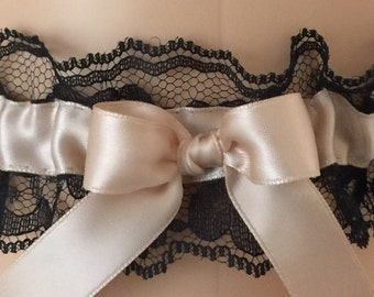 Blush and Black Lace Wedding Garter, Bridal Garter, Prom Garter, Garter Belt, Lace Garter, Plus Size Garter