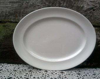 IRONSTONE PLATTER, Antique Johnson Brothers White Ironstone Oval Platter, French Country, Farmhouse Decor, Rustic, Plain White