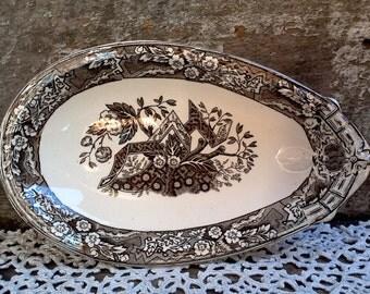 "1800's RARE Wedgwood ""Beatrice"" Aesthetic Brown Transferware Relish Dish,  Bone Dish, Appetizer Plate, Deep Rich Brown Transferware, Serving"