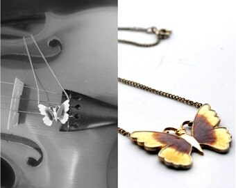 mustard butterfly necklace- autumn /winter