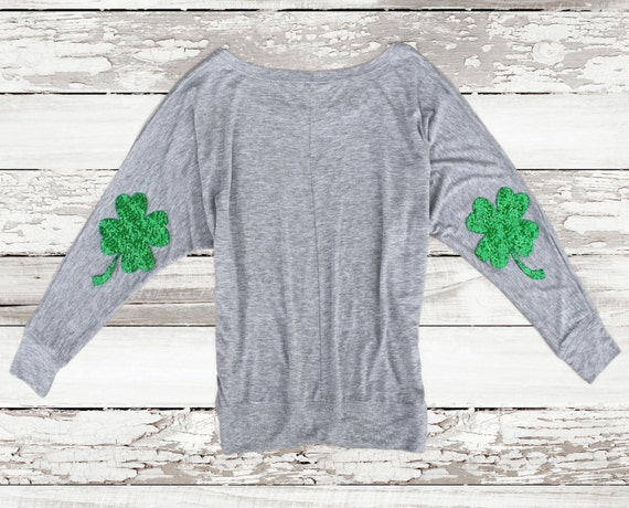 29a51dcb St Patricks Day Shirt Sequin Shamrock Elbow Patch Four Leaf