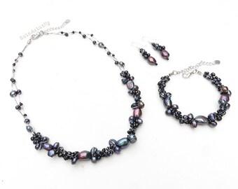 Jewelry set - Black freshwater pearl necklace, Bracelet, Earring