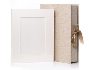 LINEN Bundle - 11x14 Folio Box  and 20  Acid free Slip-in Mats -Free shipping - Photo Mats Folios/ reveal wall/sue bryce/folio box