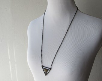 """Black and Gold Tone Triangle Geometric Necklace // on 24"""" long black chain"""