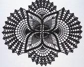 Black oval lace doily home decor crochet