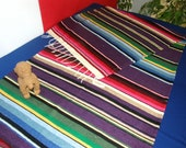 Purple Grape BANQUET TABLE RUNNER made from Mexican Serape cloth, with fringe - Parties, showers, birthdays