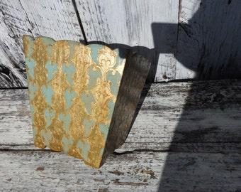 Vintage Florentine Blue Small Waste Basket Trash Can Make Up Holder Brush Florentia