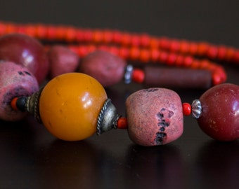 Incredible Colors Moroccan Vintage Glass and Clay Necklace