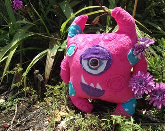 SALE! Handmade Soft Minky Pink & Purple Attitude Cyclops Monster Plush Toy Softie Toddler Gift