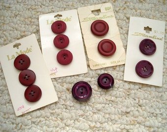 Red, Deep Wine Red Buttons, Burgundy Assortment new Vintage Buttons