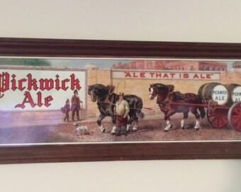 1940s Original Pickwick Ale Vintage Tin Lithograph Sign Beer Advertising Framed
