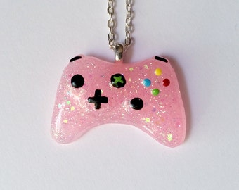 Pink Glitter Xbox Controller Necklace - Gamer Girl Nerdy Jewelry Geeky Jewelry Geeky Necklace Gamer Necklace Gamer Jewelry xBox Jewelry
