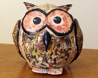 Paper Mache Piggy Bank, Owl Money Bank, Handmade Bank