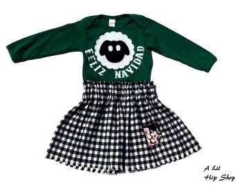 Feliz Navidad// Merry Christmas//Shirt//Plaid Skirt//Size 12 - 18 Months