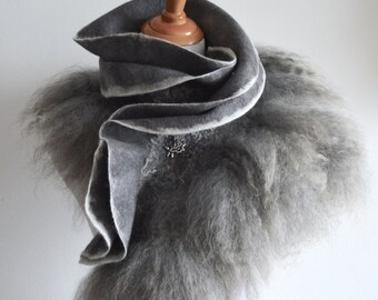 Pure grey. wet felt wool and silk warm collar-scarf (merino wool and Eng. Lester sheep curls) 125x30 cm OOAK, soft and warm, only to order!
