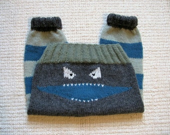 Knitted Baby Monster Pants/ Hand Knit Monster Pants