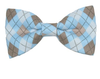 Blue Argyle Clip On Cotton Bow Tie Bowtie ~ Men's or Boys Sizes Father's Day / Teacher Gift / Graduation / Prom