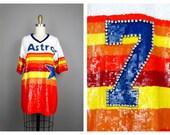 HOUSTON Astros All Sequin Jersey // Astros Star Craig Biggio Sequined Rainbow Jersey // Vintage Baseball Novelty Piece