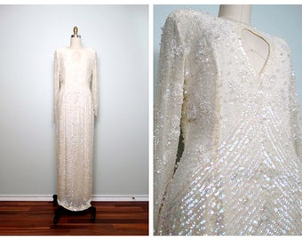 HEAVY Iridescent Sequin Gown // Fully Embellished Pearl Beaded Wedding Dress // Art Deco Sequined Beaded Gown US 6 12
