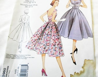 "1950s Fit and Flare Dress Sundress low back full skirt ReIssue  sewing pattern Vogue 2960 Size 4 6 8 10 Bust 29.5 30.5 31.5 32.5"" UNCUT FF"