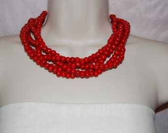 Red Wood Statement Necklace Chunky Red Beaded Necklace Bold Multi-Strand Wedding Jewelry Bridesmaids Necklace