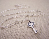 Key Necklace - Tiny Key Heart Sterling Silver Necklace - Simple Jewelry - Tiny Necklace - Dainty Necklace - Key Heart Charm - Gift for Her