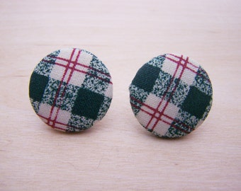 Vintage Green Plaid Fabric Circle Button Style Post Earrings - Gift for Her - M250