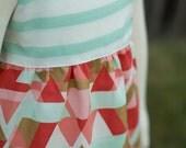 Mint Stripe Coral Gold Chevron Triangle Hummingbird Dress - Baby Girl