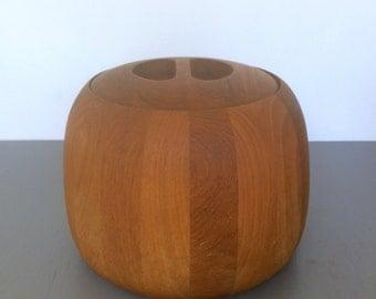 vintage Dansk ice bucket teak wood mid mod