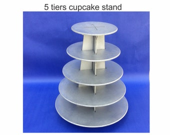 Cupcake stand 5 tiers made from wood-holds 79-75 cupcakes