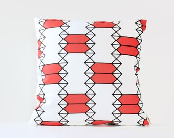 Coral Pillow Cover, Hourglass Pattern Decorative Throw Pillow, Black & White Home Deco Pillow, 16 x 16 Pillow, Coral Geometric Pillow Cover