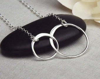 Two circle necklace sterling silver two circle necklace joined rings two interlocked rings necklace two intertwined circles necklace bff