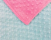 "29x35""Double Minky in Light Aqua and Pink Minky Dimple Dot Super Soft and Cozy Ready to Ship Travel Blanket Too"