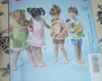 McCalls 6541 Infants Top Dress Shorts and Appliques Sewing Pattern - UNCUT - Size NB - XL  (8 - 29lb)